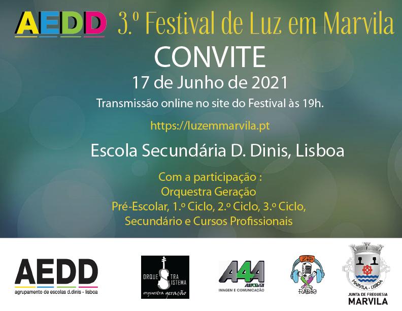 Convite 3.º Edição do Festival de Luz em Marvila